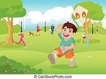 Boy playing a kite at city park