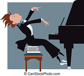 Boy playing a piano - Funny kid expressively playing a...