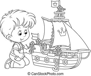 Boy playing a toy ship - Black and white vector illustration...