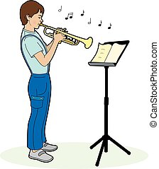 Boy playing a trumpet - Illustration vector of a boy playing...