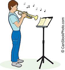 Boy playing a trumpet - Trumpet fanfare