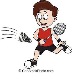 Boy playing badminton cartoon