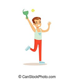 Boy Playing Badminton, Kid Practicing Different Sports And Physical Activities In Physical Education Class