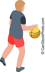Boy playing basketball icon, isometric style