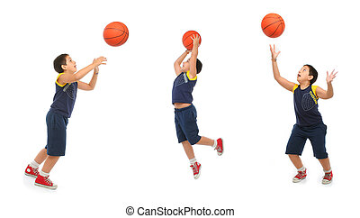 Boy playing basketball isolated