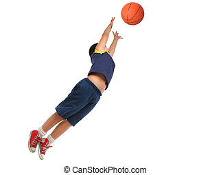 Boy playing basketball isolated. Flying and jumping