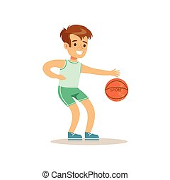 Boy Playing Basketball, Kid Practicing Different Sports And Physical Activities In Physical Education Class