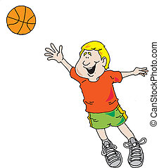 Boy Playing Basketball - Vector image of a boy taking a shot...
