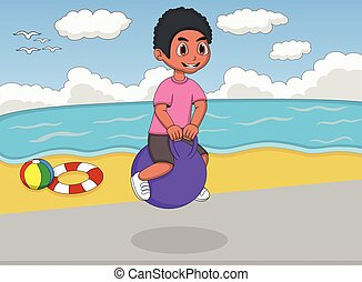 Boy playing bouncing ball