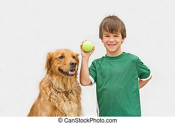 Boy Playing Catch with Dog - Little Boy Playing Fetch With ...