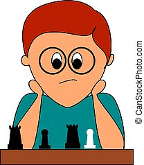 Boy playing chess, illustration, vector on white background.
