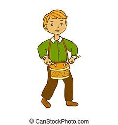 Boy playing drum.