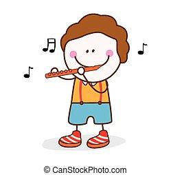 boy playing flute