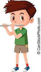Boy playing flutes on white background