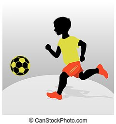 Boy playing football. Flat design.