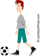 Boy playing football, illustration, vector on white background.