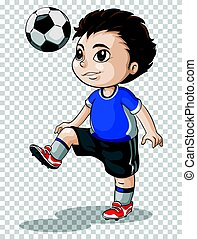 Boy playing football on transparent background illustration