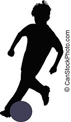 boy playing football, silhouette vector