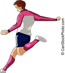 Boy playing football vector or color illustration
