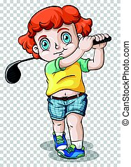 Boy playing golf on transparent background