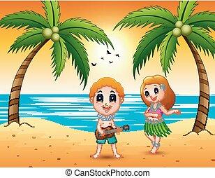 Boy playing guitar and hawaiian girl hula dancing at the beach