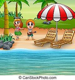 Boy playing guitar and hawaiian girl hula dancing at the seaside