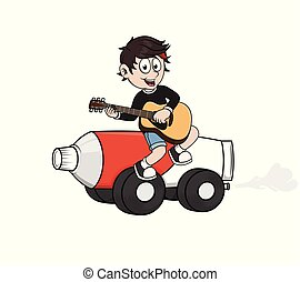 boy playing guitar with toothpaste car