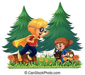 Boy playing hero and girl playing with teddybear...