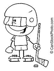 Boy Playing Hockey Goalie