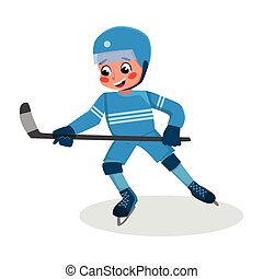 Boy Playing Hockey, Kid Practicing Sports Game, Doing Physical Exercise, Active Healthy Lifestyle Concept Cartoon Style Vector Illustration