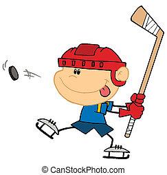 Sporty Caucasian Boy Preparing To Whack A Hockey Puck