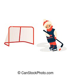 Boy playing hockey with puck and stick, front view