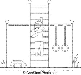 Boy playing in the playground on the stairs outline