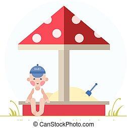 Boy playing in the sandbox - Kids activities - boy playing...