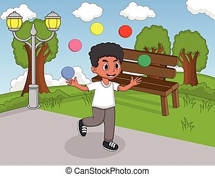 Boy playing juggling and running