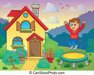 Boy playing near house theme 1 - eps10 vector illustration.
