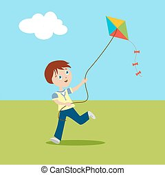 Boy playing on a green lawn. Child running with a kite. Cartoon character in flat style. Vector, illustration EPS10.