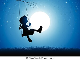 Boy playing on a swing - Cartoon silhouette of a boy playing...