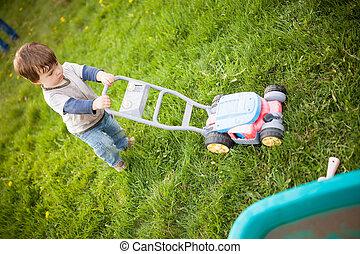 Boy playing outside