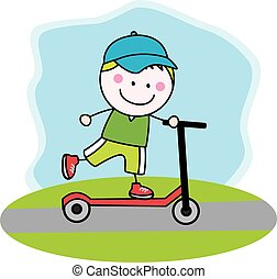 Boy playing scooter
