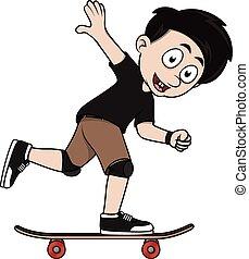 Boy playing skate board cartoon