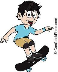 Boy playing skate board