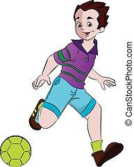 Boy Playing Soccer, illustration