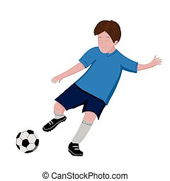 Boy playing soccer - vector illustration isolated on white background