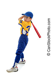 Boy playing sport baseball or softball