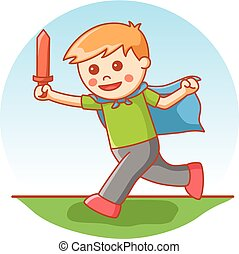 boy playing sword cartoon illustrat