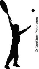 boy playing tennis, silhouette vector