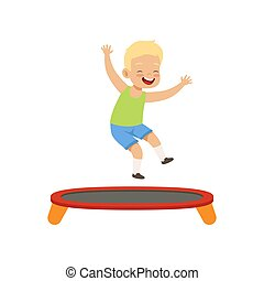 Boy playing trampoline, kid having fun on playground vector Illustration on a white background