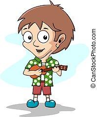 boy playing ukulele. illustration of children playing music...