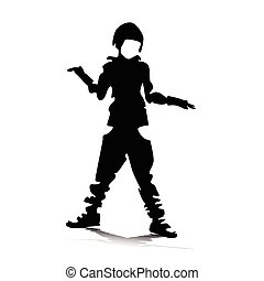 boy playing vector silhouette